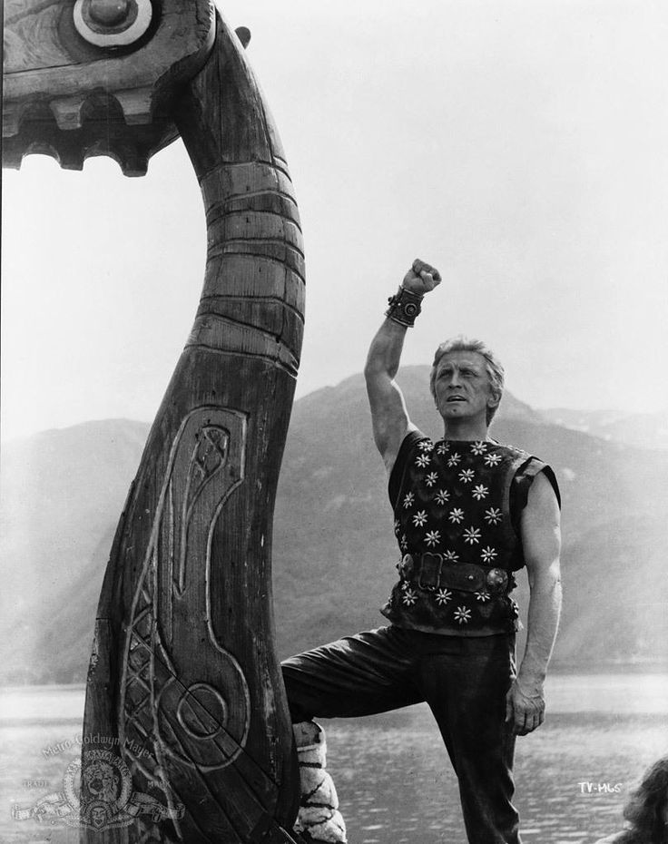 """The VIkings"" (1958). Starring Kirk Douglas (pictured), Tony Curtis, Ernest Borgnine, and Janet Leigh. Directed by Richard Fleisher (Publicity Still)."