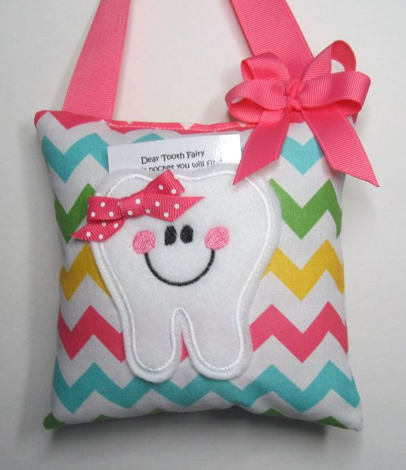 Tooth Fairy Pillow Multi Girl Chevron by Toothfairydesign on Etsy