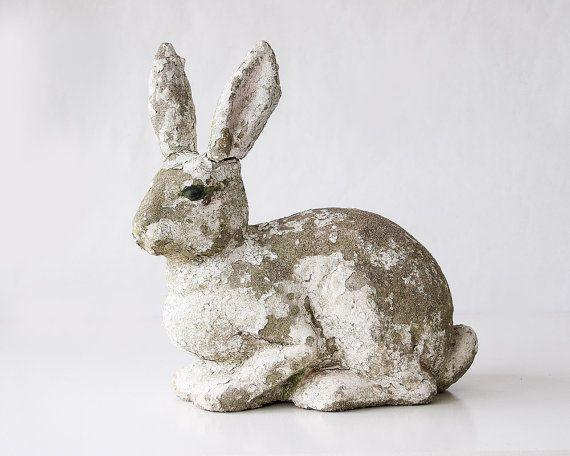 Vintage Concrete Garden Bunny Rabbit Statue By SadRosetta On Etsy