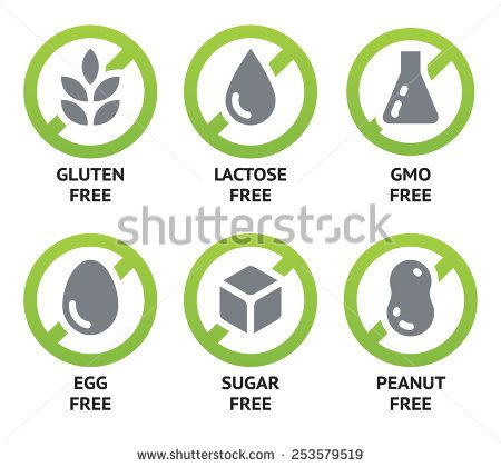 Set of food dietary labels for GMO free, sugar free and allergen free products. EPS 10. CMYK - stock vector
