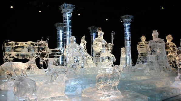 The Gaylord Palms' ICE! features ice sculptures and slides. The sculptures include everything from a nativity scene to this year's theme, Dreamworks' Shrek.