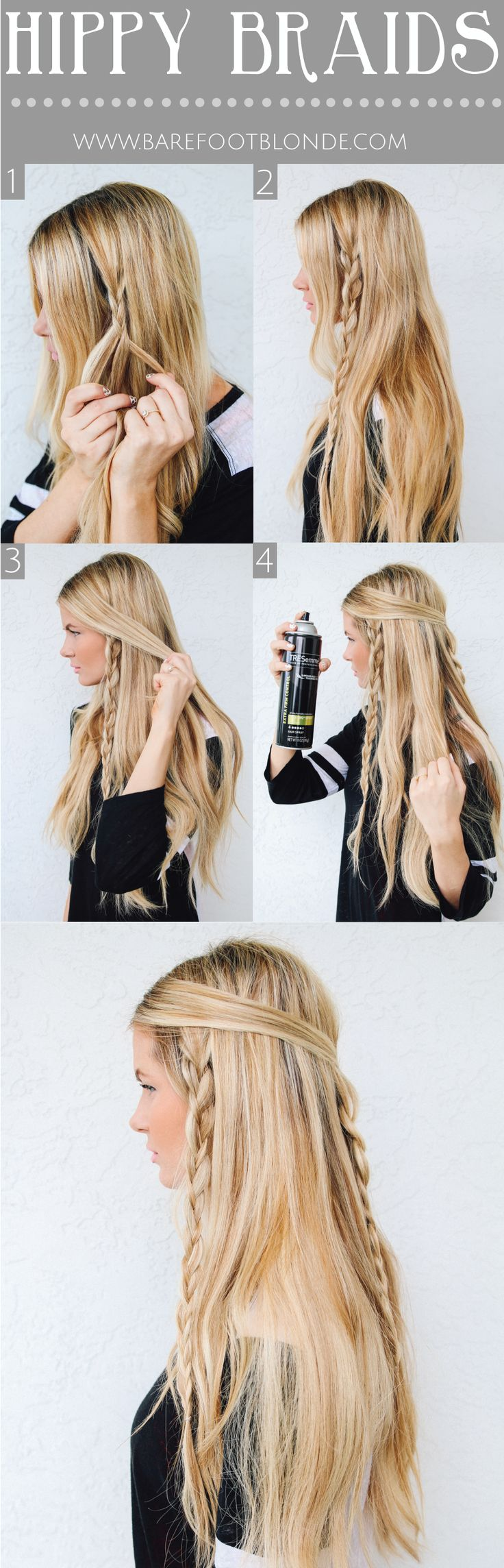 Hippy Braids: Braids Tutorials, Hippie Braids, Cute Hair Style, Barefoot Blonde, Hair Sprays, Long Hair, Hippie Hair Style, Boho Hair Tutorials, Hippie Hairstyles