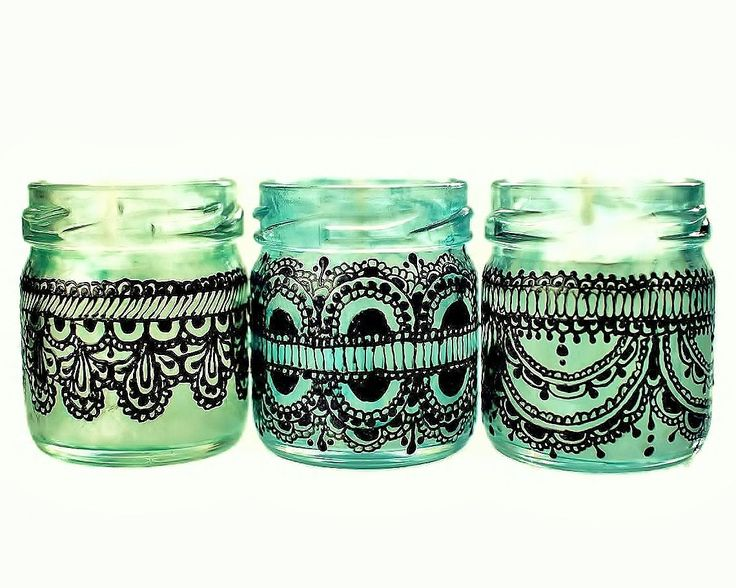Set of Three Moroccan Inspired Mini Jar Candles- Green Glass with Black Lace Detailing. $20.00, via Etsy.