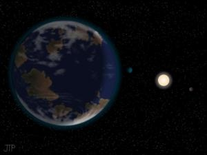 """Habitable Planet: New Super-Earth in Six-Planet System May Be Just Right to Support Life  ScienceDaily (Nov. 8, 2012) — A new super-Earth planet that may have an Earth-like climate and be just right to support life has been discovered around a nearby star by an international team of astronomers, led by Mikko Tuomi, University of Hertfordshire, and Guillem Anglada-Escude, University of Goettingen..."""
