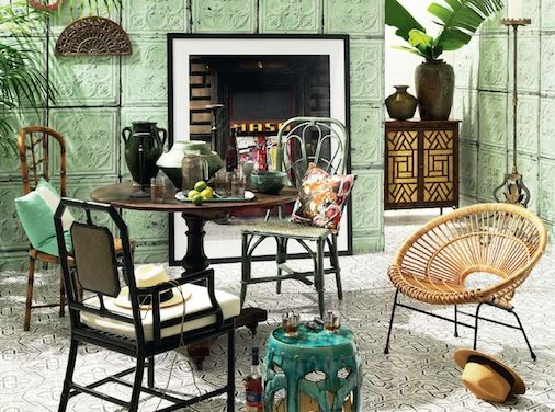 Belle Magazine Oct / Nov 2013 Havana on Trend Mint Green Cuban Dining Table with Fireplace Tropical Design