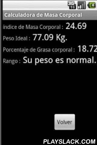Calculadora Masa Corporal  Android App - playslack.com , Calculadora del índice de masa corporal, peso ideal y porcentaje de grasa.