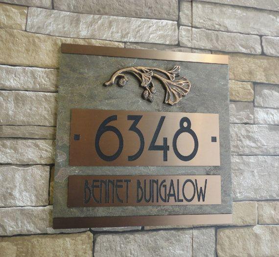 Números ARTESANO Ginkgo placa de dirección, Casa bronce aceitado