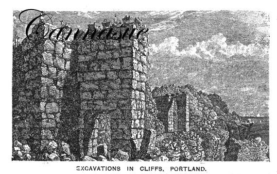 Instant download mid-Victorian illustration of the quarry workers on Portland,Dorset, Stone quarries and workers. stonemasons..