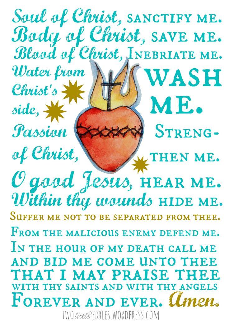 Printable of Anima Christi prayer
