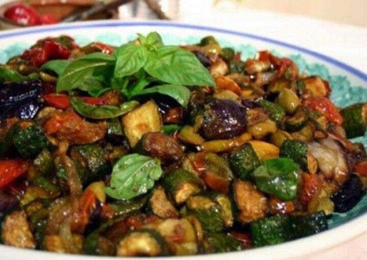 Caponata di melanzane. Aubergine. Sicilian food
