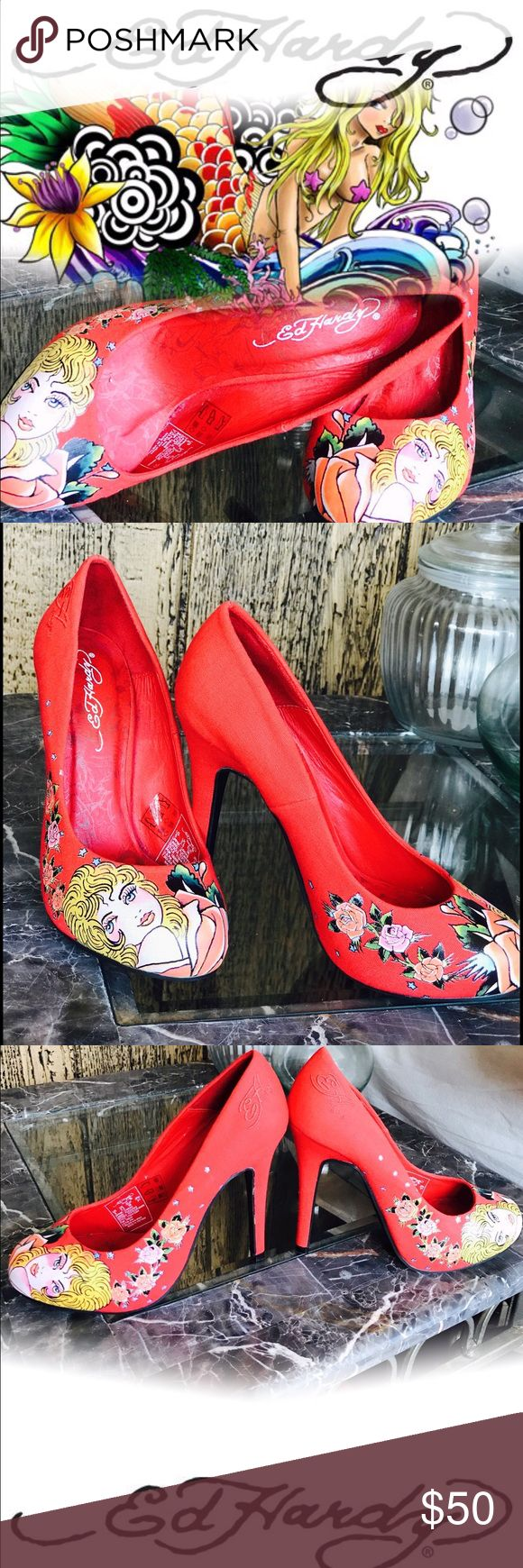 Ed Hardy shoes Authentic! Beautiful! wearable work of art! Shoe is covered with Intricate detailing . Featuring graphics by famous tattoo artist  Ed Hardy. Its  very pretty red  new without tags . Pumps with stiletto  heels round toe. Size 5 Ed Hardy Shoes Heels