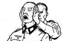 Дать в ухо. https://mensby.com/sport/fight/955-545  Даже несильный удар может вызвать сильную боль, а один удар в ухо заменяет несколько часов бесполезных разговоров с противником.