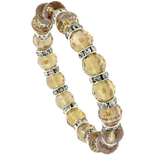 7 in. Citrine Color Faceted Glass Crystal Bracelet on Elastic Nylon Strand, 3/8 in. (10mm) wide Sabrina Silver. $9.95