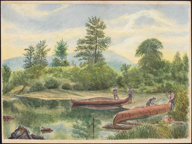 Scène de la rivière Ristigouche près du campement Henderson, aquarelle par William Hickman, ca 1860. Bibliothèque et Archives Canada, no d'acc R9266-272 Collection de Canadiana Peter Winkworth