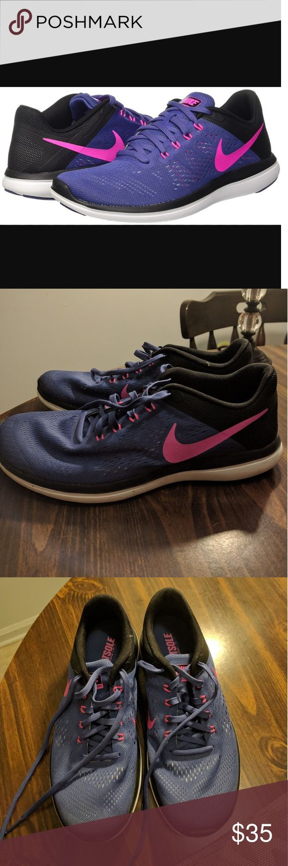 Nike Women's Flex RN Running Shoe Like new Nike Flex running shoes size 9. In great condition, worn about 3 times. Purple and black with pink Nike check. Price is firm on these. Nike Shoes Athletic Shoes
