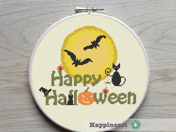 Halloween cross stitch pattern, happy halloween, moon, PDF, DIY ** instant download**