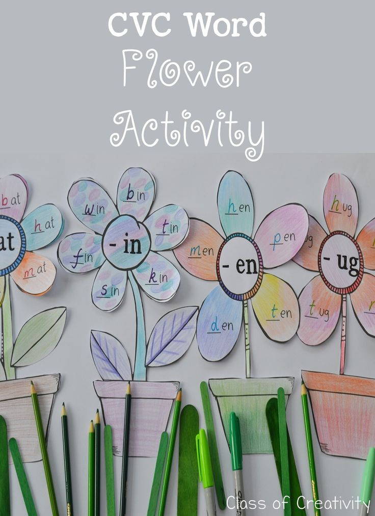 CVC word family flower activity. FREEBIE version and full set (plus assessment) on TPT now!