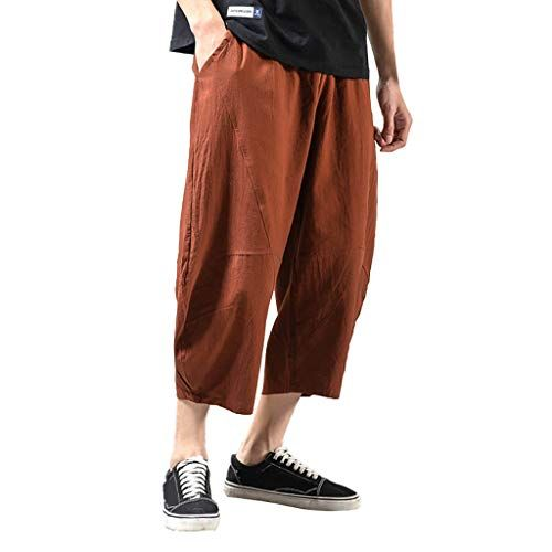 SFE Men's Leisure Pure Color Linen Loose Ankle-Length Pants Casual Party Hol…