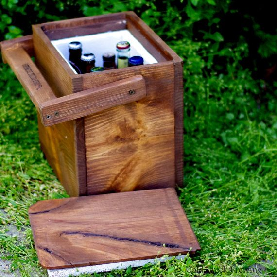 Igloo  Cooler  Insulated Carton  Wooden Cooler by coldcreekbrewing, $55.00