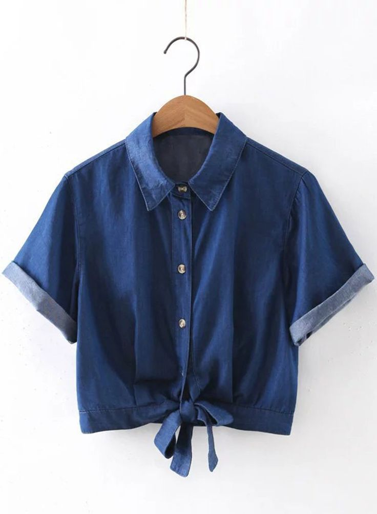 The denim cropped shirt is featuring turn-down collar, short sleeve, button down front closure, tie waist and solid color.