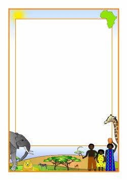 African savanna A4 page borders (SB4445) - SparkleBox