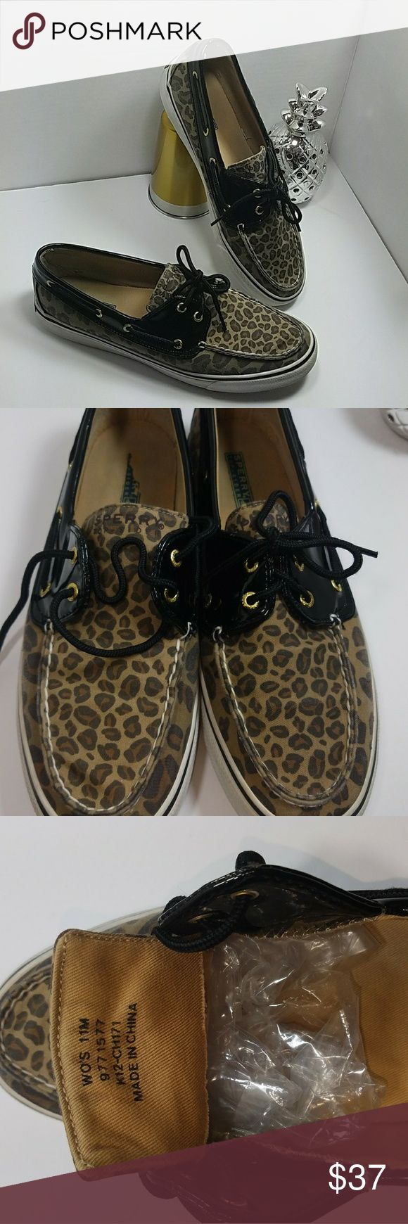Sperry Boatshoe leopard print patent leather Women's size 11. Condition shown on pics. Leopard print. Patent Leather accent. Pre-loved Sperry Top-Sider Shoes Flats & Loafers