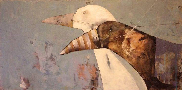 Birds chariot, painting, acrylic on canvas || Ptasie zaprzęgi, obraz, akryl na płótnie