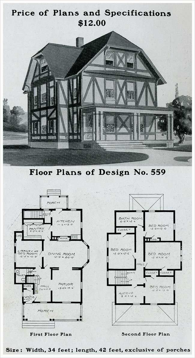 214 best vintage house plans 1900s images on pinterest for Half timbered house plans