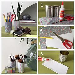 bykinanoe / DIY / recyclage / upcycling / rangement / déco Détourner une boite de conserve en pot à crayons, plantes, maquillage !