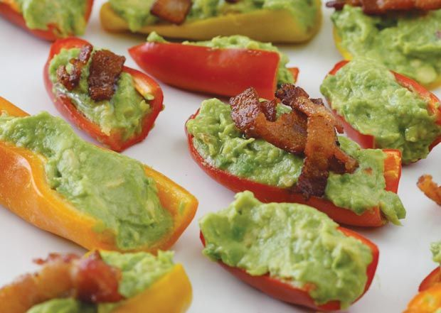 Guacamole Bacon Stuffed Pepper Poppers - Health-Bent.  These were really tasty.  I used jalepenos because I couldn't find the sweet peppers and they were super hot!  The flavor of guac. and bacon was really great together!