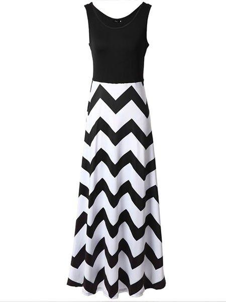 Sexy Scoop Neck Striped Maxi-dresses Maxi Dresses from fashionmia.com