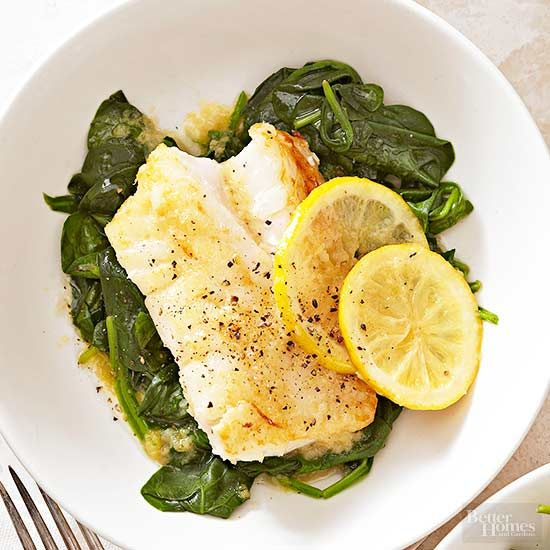 Bright lemon and zesty ginger amp up plain-Jane whitefish (just pick your favorite at the grocery store!). Serve on a bed of nutrient-rich spinach with a few slices of lemon for added flavor./