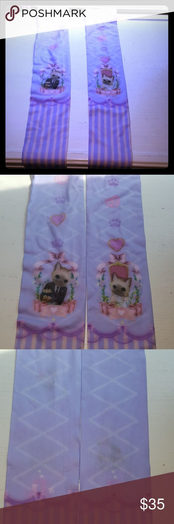 Kitty thigh highs Super kawaii lolita cats with heart pretzels and paw prints just noticed some stains very melanie martinez tags doll house barbie cats sourpuss iron fist unif sour puss Other