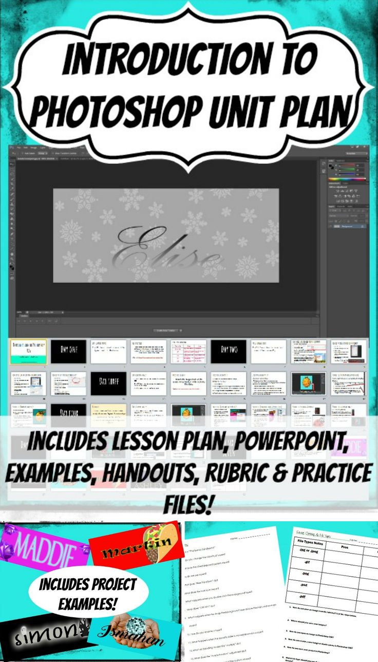 Teach students the basics of using Photoshop with this awesome unit plan! Introduction to Photoshop Graphic design lesson for high school and middle school https://www.teacherspayteachers.com/Product/Introduction-to-Photoshop-CS6-CS5-Graphic-Design-Media-Arts-Unit-Project-Lesson-3033015