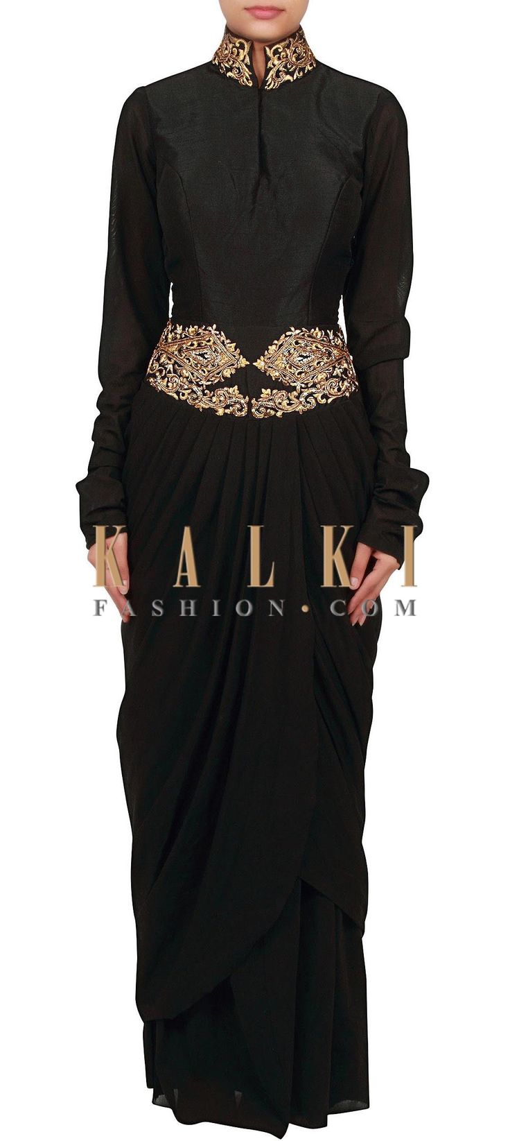 Buy Online from the link below. We ship worldwide (Free Shipping over US$100) http://www.kalkifashion.com/black-gown-adorn-in-zari-and-kardana-embroidery-only-on-kalki.html
