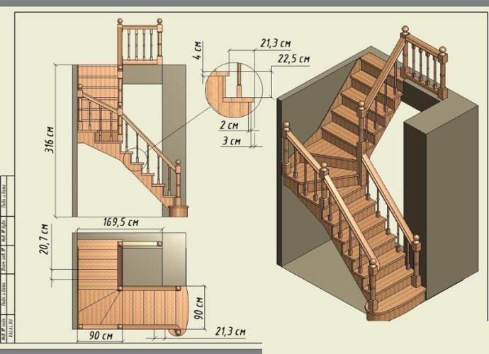 двухмаршевая лестница чертеж: 548 изображений найдено в Яндекс.Картинках