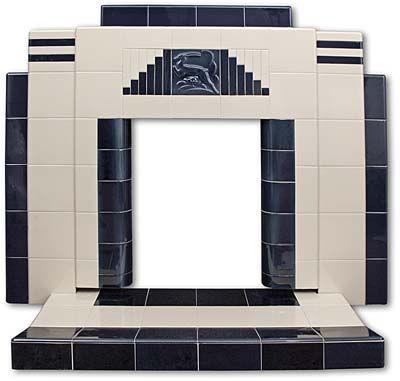 Gazelle all tiled Art Deco fireplace