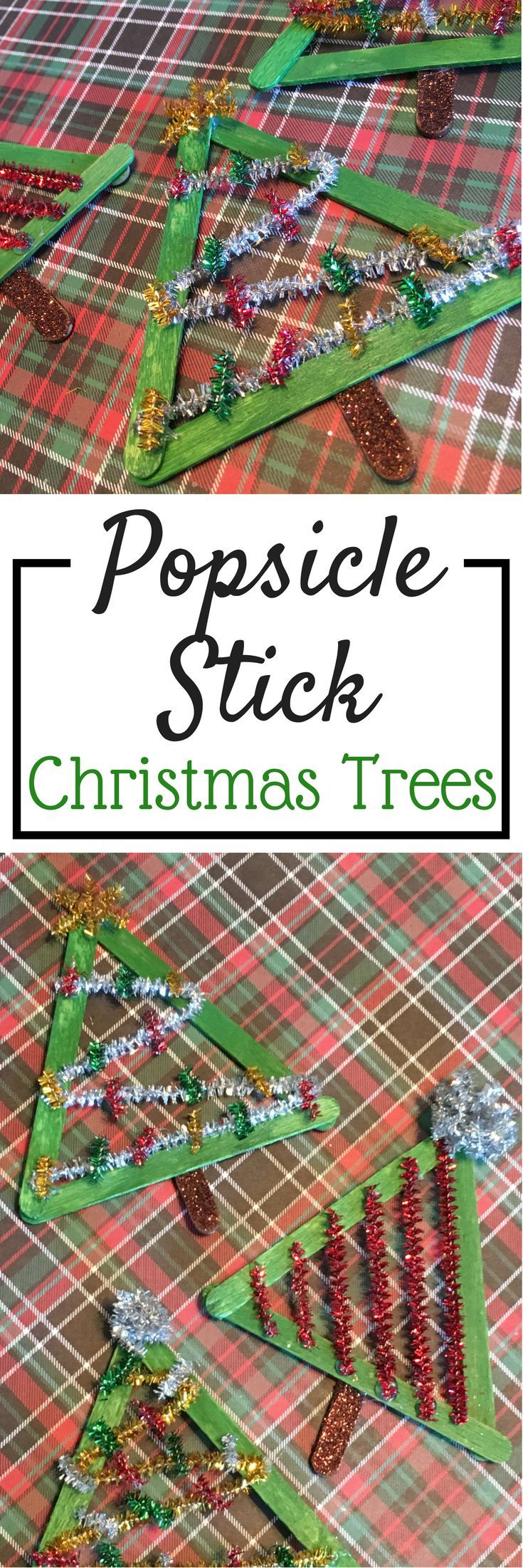 Popsicle Stick Christmas Trees! Great craft for kids this Holiday season. Super easy too! Great for ll ages