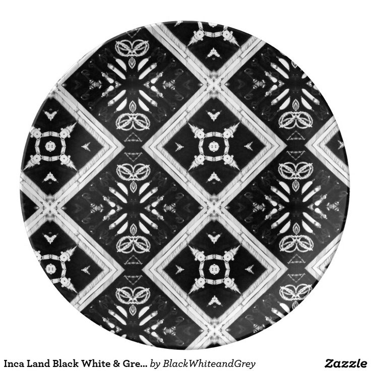 Inca Land Black White & Grey Porcelain Plate