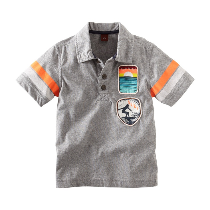 Surf Patrol Patches Polo at teacollection.com. This polo has a bit of a retro seventies vibe. It's got striped sleeves and fun Bali surf patches.