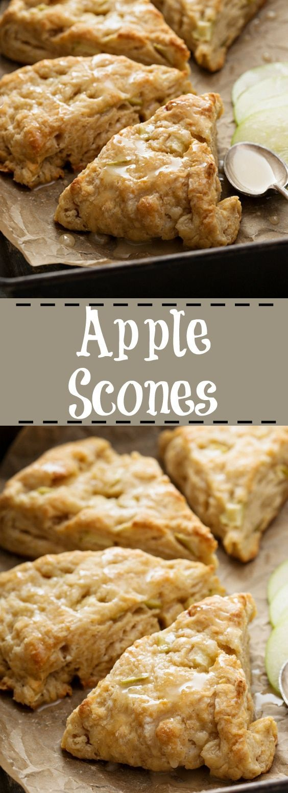 The BEST Apple Scone Recipe! Easy, simple and delicious! From @kitchenmagpie  #recipe #desserts #scones #apple
