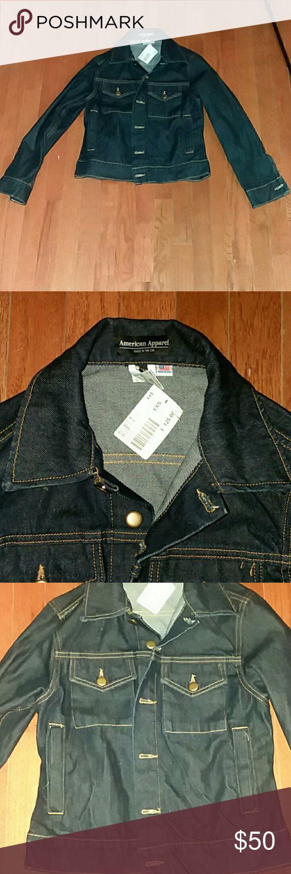 American Apparel  dark wash indigo denim jacket American Apparel resin dark wash indigo  denim button up jacket size xxs. Unisex. Runs large American Apparel Jackets & Coats