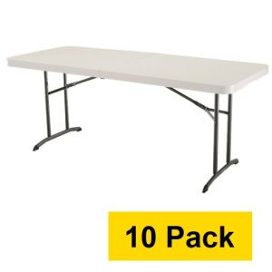 Attractive Lifetime Tables   4571 Almond 6 Ft. Fold In Half Table Top