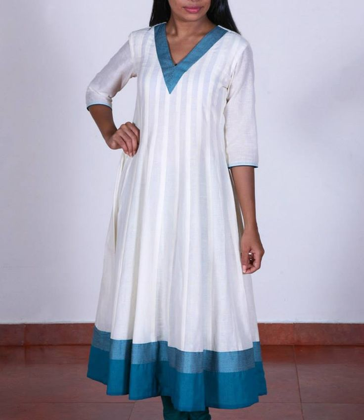 Shop for this collection at http://www.shalinijamesmantra.com/classic-creme/off-white-cotton-anarkali-199.html