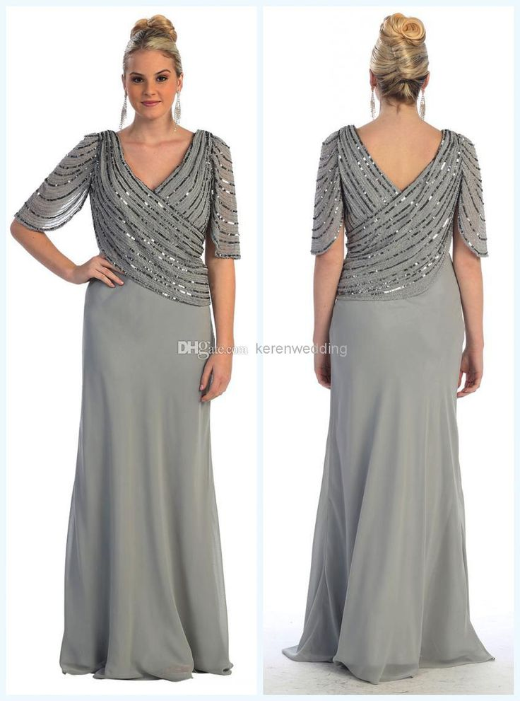 Wholesale Mother of the Bride Dress - Buy Spring New Arrival Plus Size Beading Chiffon Mother Of The Bride Dresses V-Neckline Half Sleeve Sheath Floor Length Mother Dress DA512, $148.46 | DHgate