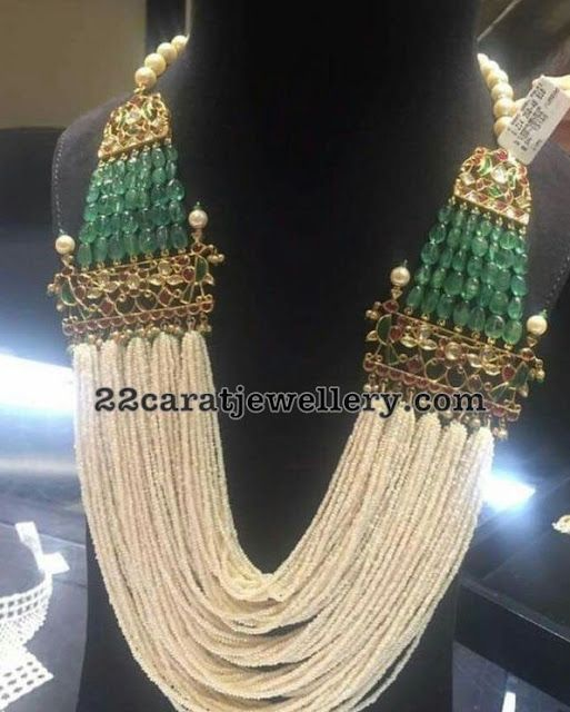 Multi Layers Pearls Emeralds Kundan Set - Jewellery Designs