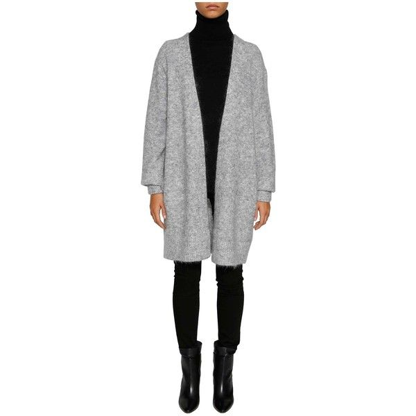 Acne Studios 'raya' Cardigan ($220) ❤ liked on Polyvore featuring tops, cardigans, grigio, cardigan top, acne studios, long sleeve tops, open front cardigan and long sleeve cardigan