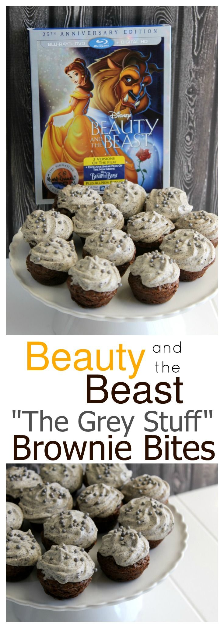 "You've heard about ""The Grey Stuff"" - it's delicious! Make my The Grey Stuff Brownie Bites to celebrate the release of Beauty & the Beast 25th Anniversary Edition on Blu-ray/DVD/Digital"