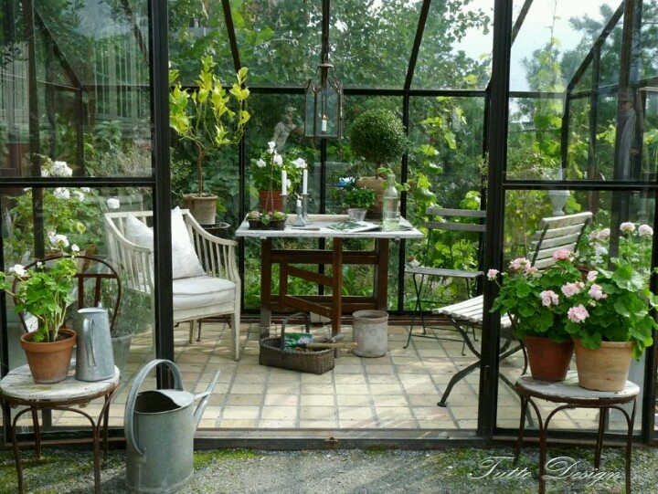Solarium Stone Tile Floor Green Houses French Interiors