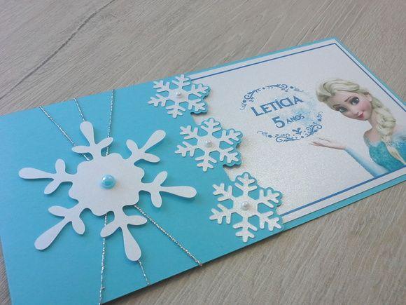 Convite Elsa Frozen. Info: arteverdana@yahoo.com.br http://www.elo7.com.br/convite-aniversario-frozen-elsa-flocos/dp/5F0748
